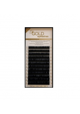 Gold 0,07 and 0,10 mm eyelashes, MIX
